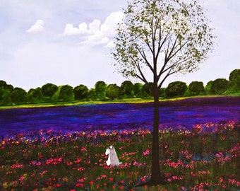 Schnauzer Dog folk LARGE art PRINT of Todd Young painting Spring Clover