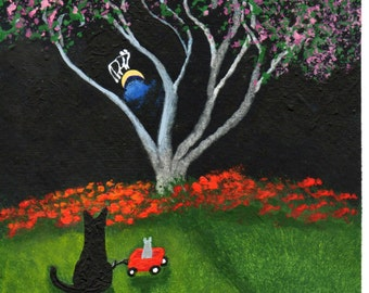 Black Cat Mouse folk art PRINT of Todd Young painting Wagon Ride
