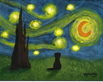 Black Lab Modern Folk Art PRINT Todd Young Under a Starry Sky