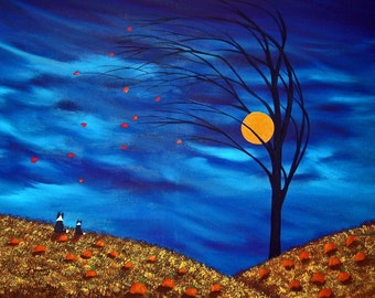 Border Collie Dog Folk Art Print by Todd Young FALLING LEAVES