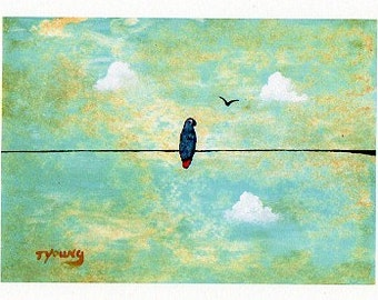 African Grey Parrot Bird folk art PRINT of Todd Young painting Sunny Day