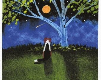 Beagle folk art PRINT of Todd Young painting Shooting Star