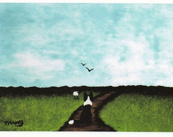 Border Collie Dog folk art PRINT of Todd Young painting The Path