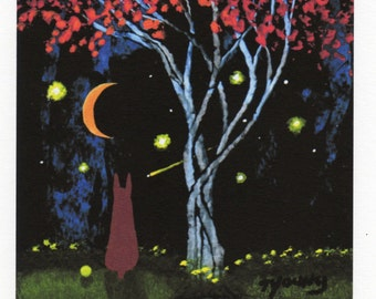 Red ginger Doberman Dog folk art PRINT of Todd Young painting Night Fall