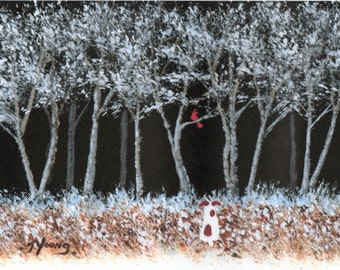Jack Russell SNOWY TREES limited edition reproduction art print of Todd Young painting
