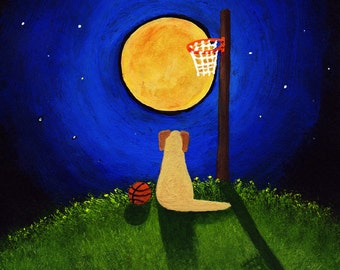 Yellow Lab Dog modern folk art PRINT of Todd Young original painting NIGHT BASKETBALL