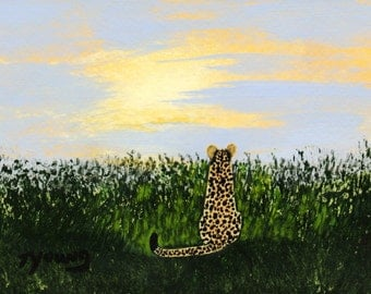 African Cheetah Cat NEW DAWN limited edition art print of Todd Young painting