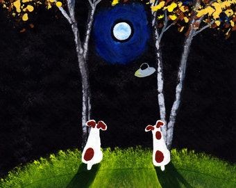 Jack Russell Dog Art PRINT Todd Young painting UFO