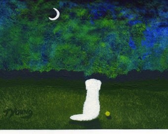 Great Pyrenees Dog modern folk art PRINT of Todd Young Northern Lights