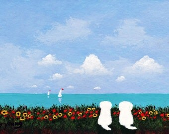 Maltese Dog SIDE BY SIDE limited edition reproduction art print by Todd Young painting
