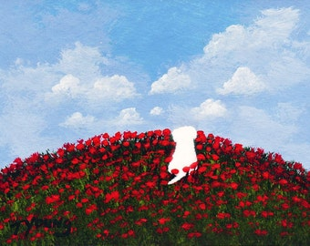 Maltese Dog FIELD OF POPPIES Bichon Frise Folk art print by Todd Young painting