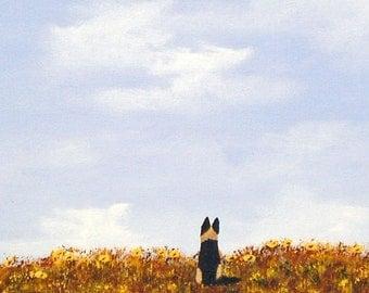 German Shepherd Dog folk Art Print by Todd Young Wildflowers