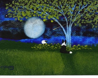Border Collie Dog Modern Folk Art PRINT of Todd Young painting Spring Night