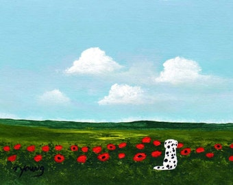 POPPY FIELD Dalmatian dog PRINT by Todd Young
