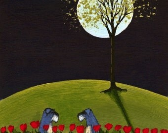 Tulips Schnauzer dog folk art print by Todd Young