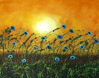 Blue Poppies Large Art PRINT of Todd Young painting Soft Summer Breeze