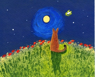 Abyssinian Orange Cat UNDER THE STARS limited edition art print of Todd Young painting