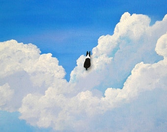 Boston Terrier Dog IN THE CLOUDS Outsider Folk Art print of Todd Young