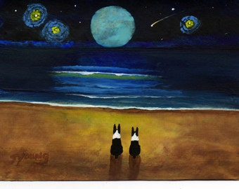 Boston Terrier dog folk art PRINT of Todd Young painting Magical Night