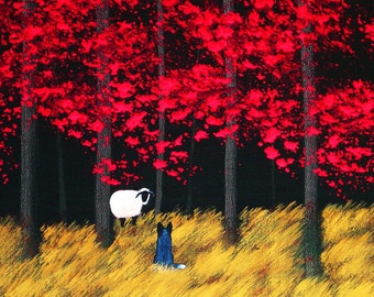 Australian Cattle Dog LARGE Art PRINT Todd Young painting Red Forest Roundup