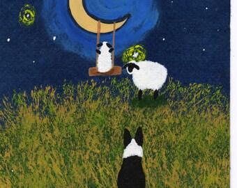 Border Collie Dog Sheep Folk Art PRINT Todd Young painting Moon Swing