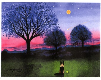 German Shepherd Dog Folk Art PRINT of Todd Young painting Dusk