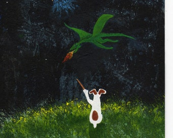 Jack Russell Terrier dog modern folk art PRINT of Todd Young painting The Wizard