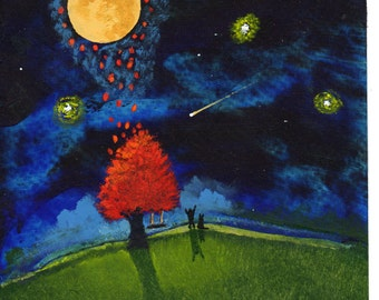 Man dog Moon Star modern folk art PRINT of Todd Young painting Reaching