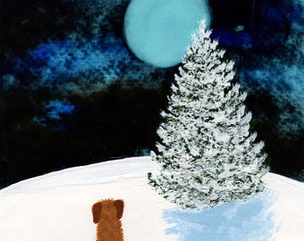 Goldendoodle Dog Modern Folk Art PRINT of Todd Young painting Winter Moon
