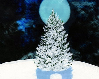 Bichon Frise Dog Winter snow folk art print by Todd Young WINTER MOON