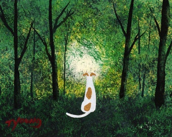 Greyhound Dog Modern Folk Art PRINT of Todd Young painting Forest Light