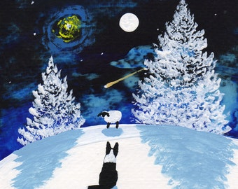 Border Collie Dog Modern Folk Art PRINT of Todd Young painting Winter Star