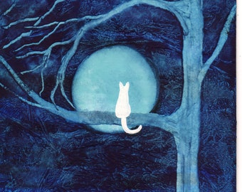 White Cat abstract Folk art PRINT of Todd Young painting BLUE MOON