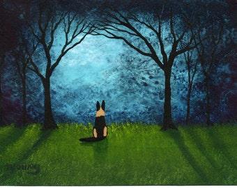 German Shepherd Dog Folk Art Print by Todd Young Blue Forest Light
