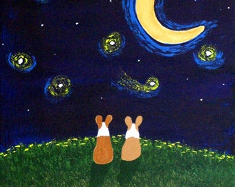 Corgi Dog Folk Art PRINT Todd Young painting Under the Stars