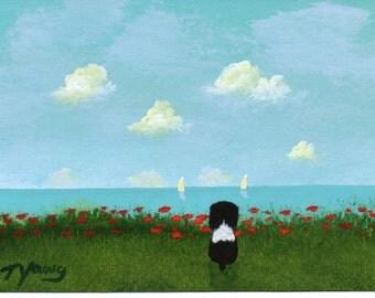 Springer Spaniel Dog folk Art PRINT of Todd Young painting Lakeside