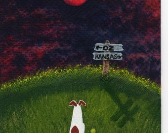 Jack Russell Terrier Dog folk Art PRINT of Todd Young painting Which Way