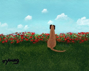 Fawn Great Dane Dog Modern Folk Art PRINT of Todd Young painting Poppies