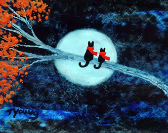 Black Cat  Kitten folk art print by Todd Young Autumn Moon