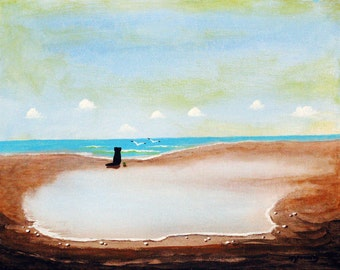 Black Lab Dog LARGE art PRINT of Todd Young painting Tide Pool