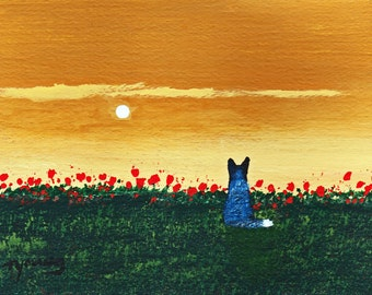 Australian Cattle Dog RISING MOON print by Todd Young