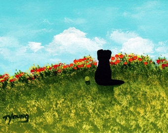 Black Lab dog Folk Art PRINT by Todd Young painting Spring Tulips