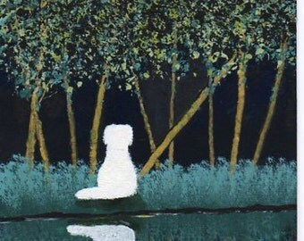 Great Pyrenees Dog modern folk art PRINT of Todd Young Night Forest
