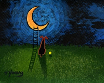 Airedale Welsh Terrier Dog modern folk art PRINT of Todd Young Ladder to the Moon
