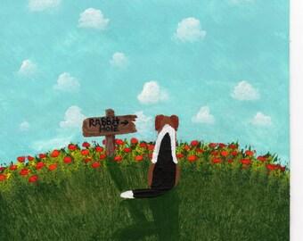 Beagle Dog Folk Art PRINT by Todd Young painting Rabbit Hole