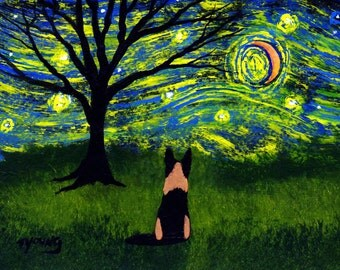 German Shepherd Dog LARGE art PRINT of Todd Young painting Starry Sky