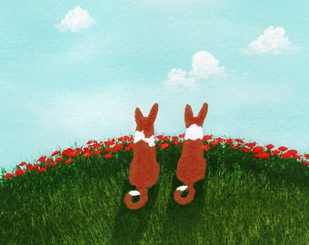 Basenji Dog art PRINT of Todd Young painting Summer Poppies