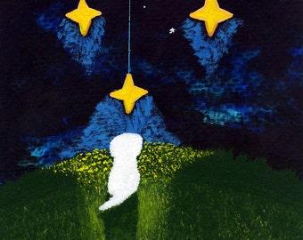 Maltese Dog Bichon Frise Shih Tzu Outsider Folk art print by Todd Young Wishing on a Star