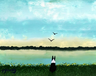 Boston Terrier Dog Art PRINT Todd Young painting Lakeside