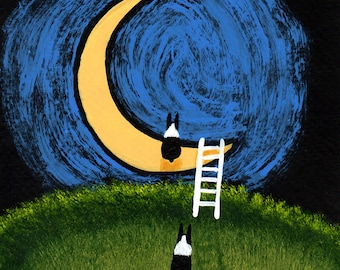 Boston Terrier Dog Art PRINT Todd Young painting Ladder to the Moon